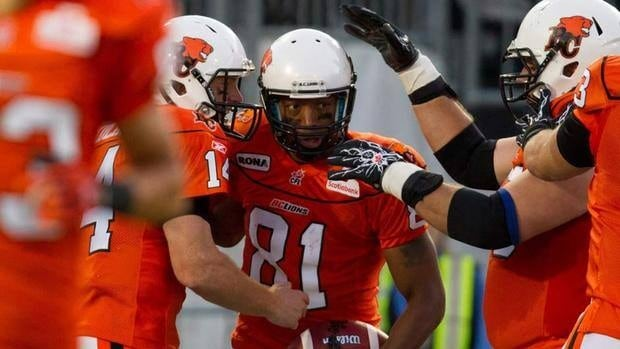 B.C.'s Geroy Simon, centre, has recorded at least 1,190 yards receiving in each of the last nine regular seasons.