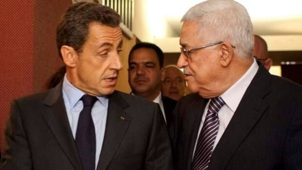 French President Nicolas Sarkozy, left, meets with Palestinian President Mahmoud Abbas in New York on Tuesday.
