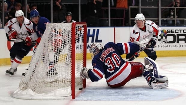 Alexander Semin (28) of the Washington Capitals scores a goal in the third period against goalie Henrik Lundqvist (30) of the New York Rangers in Game 4 on Wednesday in New York City.