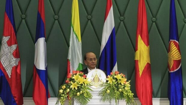 Thein Sein, who is Myanmar's new president,  prepares to speak during the opening of the 4th Ayeyawady-Chao Phraya-Mekong Economic Co-operation Strategy summit in Phnom Penh Nov. 17, 2010, when he was his country's prime minister.