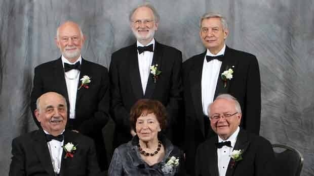 The 2011 Canadian Medical Hall of Fame laureates. Back row:  Dr. John Bienenstock, Dr. Jonathan L. Meakins (grandson of Dr. Jonathan C. Meakins), Dr. Allan Ronald. Front row:  Dr. Albert Aguayo, Dr. Yvette Lemire-David (wife of Dr. Paul David), Dr. Lorne Tyrrell.