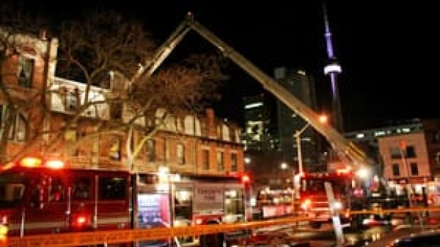 A three-alarm fire erupted Thursday night at the Black Bull Hotel & Tavern on Queen Street West. Two people were sent to hospital.