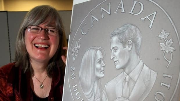Artist Laurie McGaw shows her rendition of collector coins commemorating the April 29 wedding of Prince William and Kate Middleton.