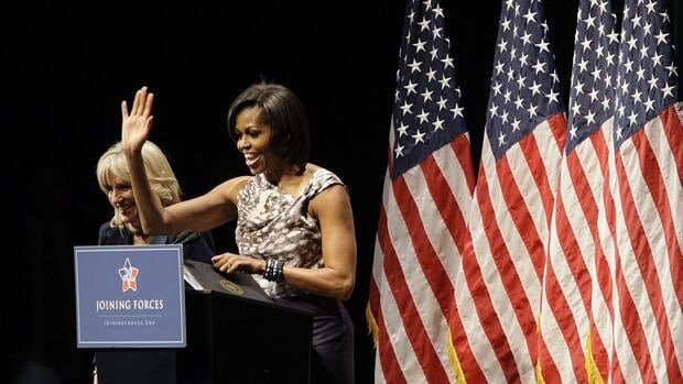 Michelle Obama speaks during a USO and Sesame Street event honouring National Guard members and their families on Apr. 14 in Columbus, Ohio.