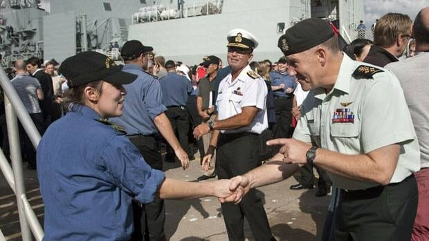 Canada's combat mission will end in the next two weeks, after more than six months flying missions over Libya. Here, Chief of Defence Staff Walter Natynczyk welcomes back sailors who had been patrolling the water off the coast of Libya.