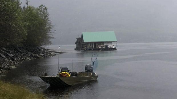 The Tookus Inn floating lodge, moored in the Dala-Kildala Estuaries Provincial Park on the Douglas Channel, near Kitimat, B.C., on a rainy Sept. 18, 2011.