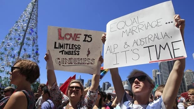Gay rights demonstrators gather for a rally in Sydney, Australia on Dec. 3, 2011. Some reports said as many as 5,000 people turned up to show their support for a Labor Party motion to endorse same-sex marriage.