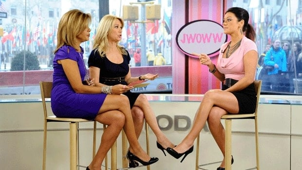 """Today"" show co-hosts Hoda Kotb, left, and Kathie Lee Gifford talk with reality star Jenni Farley, right, also known as ""JWoww""."