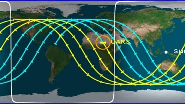 A map produced by the Center for Orbital and Debris Studies shows a yellow icon indicating where the satellite will likely re-enter the atmosphere and yellow lines showing where the debris could hit the ground.