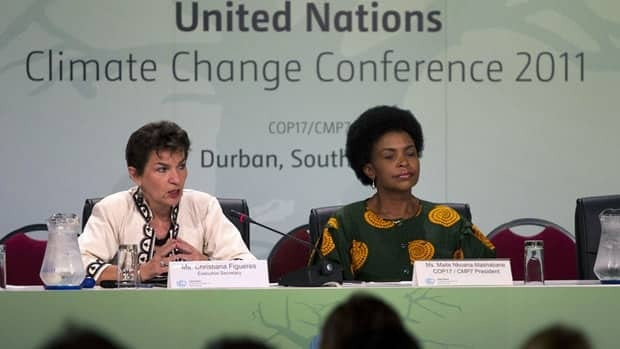 Executive Secretary of the UN Framework Convention on Climate Change (UNFCCC) Christiana Figueres speaks during a news conference in Durban next to the incoming COP 17 president Maite Nkoana-Mashabane (right). Almost 200 nations began global climate talks on Nov. 28 with time running out to save the Kyoto Protocol aimed at cutting the greenhouse gas emissions scientists blame for rising sea levels, intense storms, drought and crop failures.