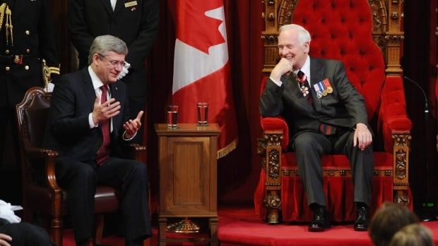 Governor General David Johnston laughs as he talks with Prime Minister Stephen Harper. Johnston is part of Harper's plan to signal Canada's interest in Chinese investment. The Governor General's visit comes just a week after Trade Minister Ed Fast wraps up his fourth visit to China.