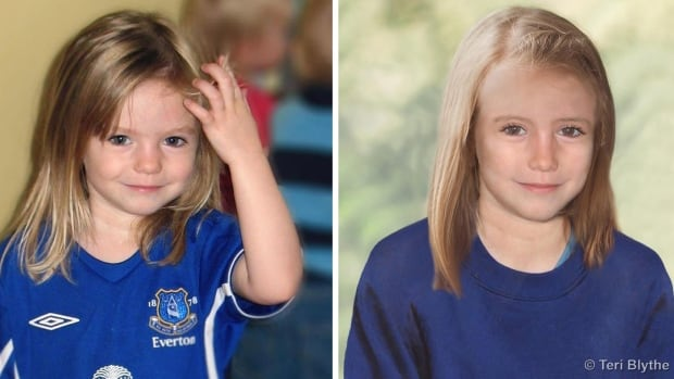 Composite photos showing three-year-old Madeleine McCann, left, with a computer generated age progression image of the missing child as she might look in 2013.