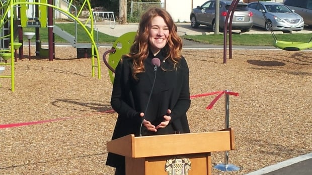 Olympic medallist Clara Hughes opens a new recreation park named in her honour Tuesday in Winnipeg's Elmwood neighbourhood.