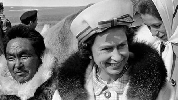 Thomasina Emoralik, left, guides Queen Elizabeth II, centre, and Princess Anne on a tour near Resolute Bay on Cornwallis Island in what was then the Northwest Territories (now Nunavut) on July 6, 1970.