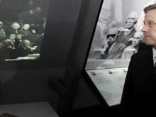 Benjamin Ferencz (L), was the chief prosecutor for the United States Army at the Einsatzgruppen trial — the ninth of 12 trials for war crimes  in Nuremberg after the end of the Second World War.