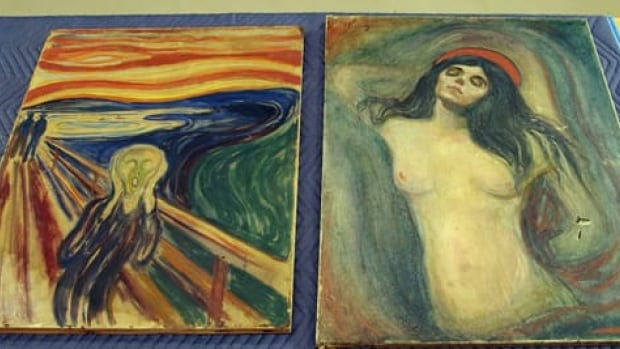 Edvard Munch's masterpieces The Scream, left, and Madonna are shown after being recovered in 2006 from a brazen theft from Oslo's Munch Museum in 2004. Damage is visible on the lower right part of Madonna.
