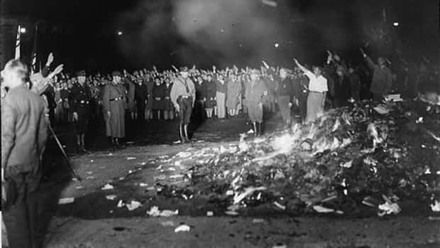 "Fascist university students burned upwards of 25,000 books on the Opernplatz (Opera Square) in Berlin,  Germany, on May 10, 1933. Nazi leader Joseph Goebbels spoke at the event, telling the students, ""You do well at this late hour to entrust to the flames the intellectual garbage of the past."""