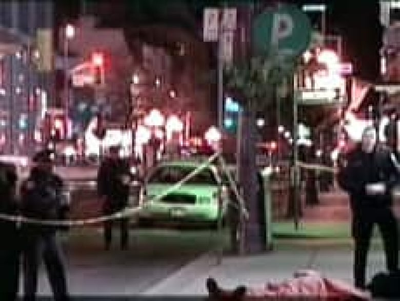 John O'Keefe died early Saturday morning after he was shot as he walked by  the Brass Rail strip club on Yonge Street. ((CBC))