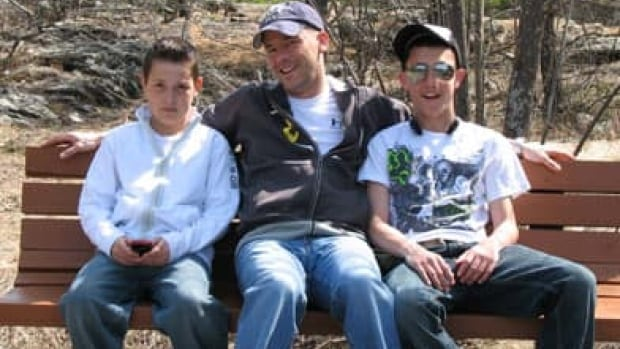 The Storring boys, on a bench by the Petawawa River: Jeremy, Russell, Jonathan. (Photo courtesy Nathalie Storring)