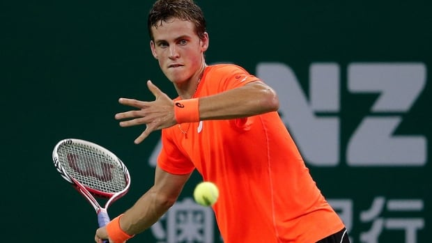 Canada's Vasek Pospisil, seen here at the recent Shanghai Masters, dropped a 7-6 (3), 6-7 (5), 6-2 decision to Robin Haase in second-round play Thursday at the Erste Bank Open in Vienna, Austria.