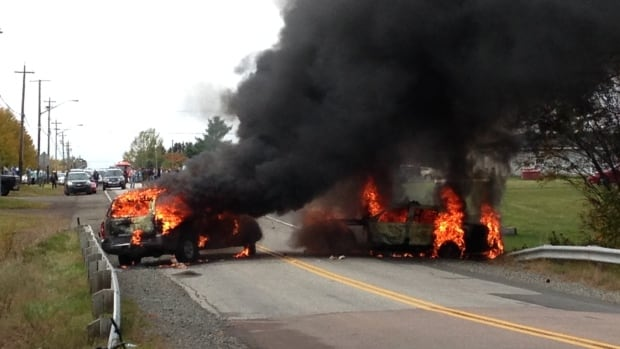 An RCMP cruiser and another unmarked vehicle burned near the shale gas protest in Rexton, N.B. last week.