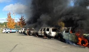 car fire shale gas rexton protest