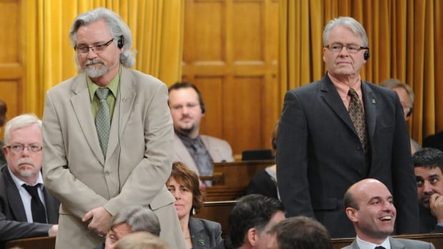 Thunder Bay-Rainy River MP John Rafferty stands in the house with his Thunder Bay-Superior North colleague Bruce Hyer. Both are running again in this fall's election, but while Rafferty has stuck with the NDP, Hyer is now a Green.
