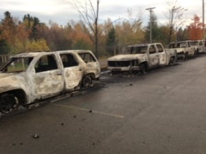 Burnt cars near rexton