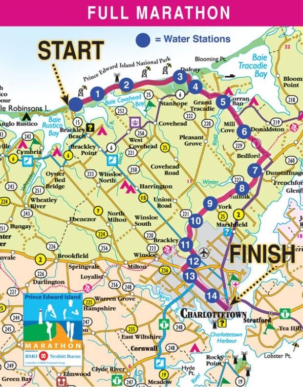 P.E.I. Marathon map