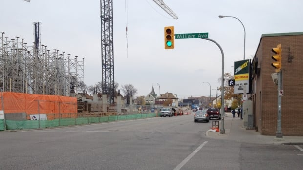 Sherbrook Street between William Avenue and Elgin Avenue closed at 6 p.m. Friday as city crews work on connecting sewer lines for the new women's hospital. The area is expected to reopen by 6 p.m. Sunday.
