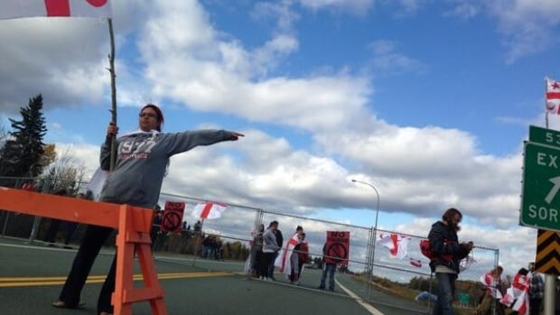 Protesters block Highway 11 near Exit 53 in New Brunswick.