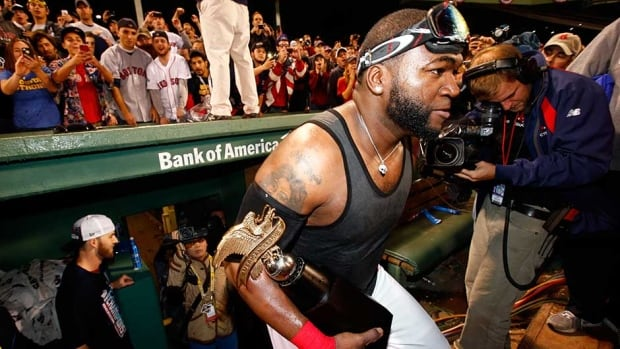 Boston Red Sox slugger David Ortiz celebrates after his club defeated the Detroit Tigers in Game 6 of the ALCS at Fenway Park on Saturday in Boston