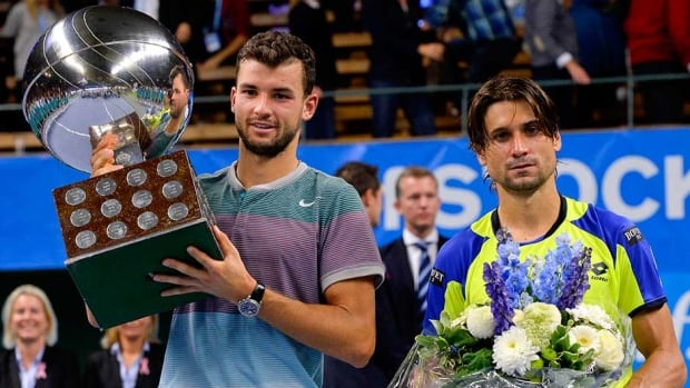 David Ferrer, right, and winner Grigor Dimitrov pose after the Stockholm Openfinal on Sunday in Stockholm.