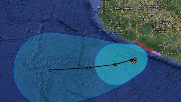 An aerial map produced by the U.S. National Oceanic and Atmospheric Administration shows Hurricane Raymond approaching the Pacific coast of Mexico early Monday.