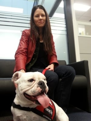 Anna-Bell therapy dog and Colleen Dell