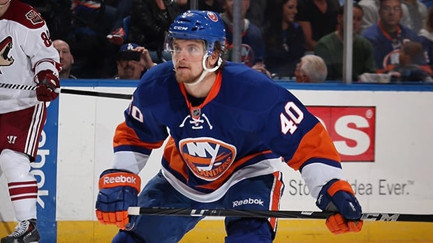 Michael Grabner of the New York Islanders skates against the Phoenix Coyotes at the Nassau Veterans Memorial Coliseum on October 8, 2013 in Uniondale, New York.
