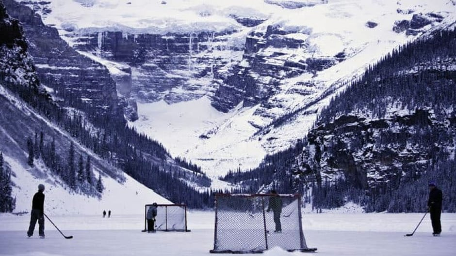 Pond hockey in Lake Louise, A.B.