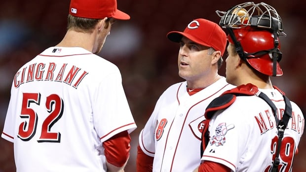 Pitching coach Bryan Price, middle, has been tabbed to succeed the fired Dusty Baker as manager of the Cincinnati Reds.