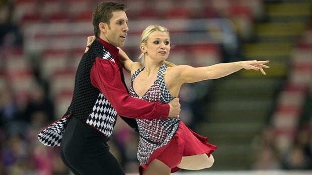 Kirsten Moore-Towers, right, and Dylan Moscovitch won the silver medal in the pairs event at Skate America in Detroit last weekend.