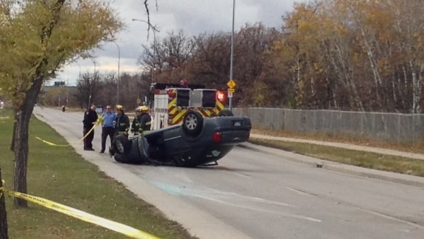 Police and emergency services attended to a rollover on Grant Avenue and Shaftesbury Boulevard on Tuesday afternoon.