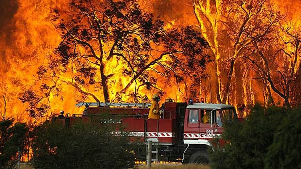 A fire truck moves away from raging flames in Bunyip Sate Forest, 125 kilometres west of Melbourne, on Feb. 7, 2009. What keeps wildfires like this one going is a combination of heat, oxygen and fuel.
