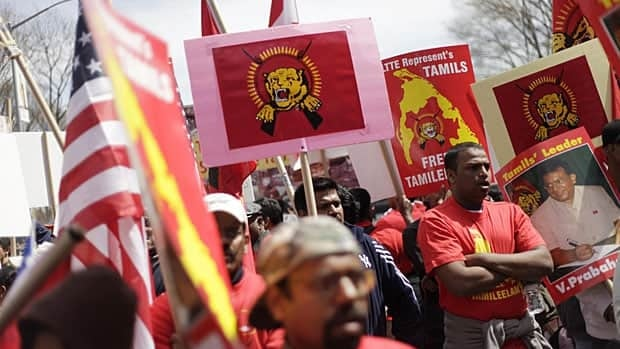 More than 1,000 people rally near United Nations headquarters to protest in New York on April 17, 2009, against Sri Lanka's military offensive against the Tamil Tigers and the civilian casualties in a safe zone.