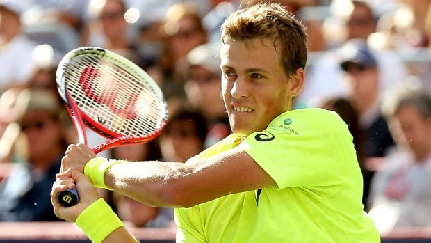 Canada's Vasek Pospisil, pictured here, downed Robin Haase 6-4, 6-4 in a first-round match at the Swiss Indoors on Wednesday. Last week, Haase grabbed bragging rights in Vienna.