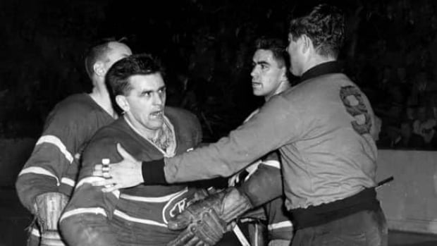Maurice Richard, left, played with a fire that made him one of hockey's all-time greats but could also land him in trouble — most dramatically in March of 1955.