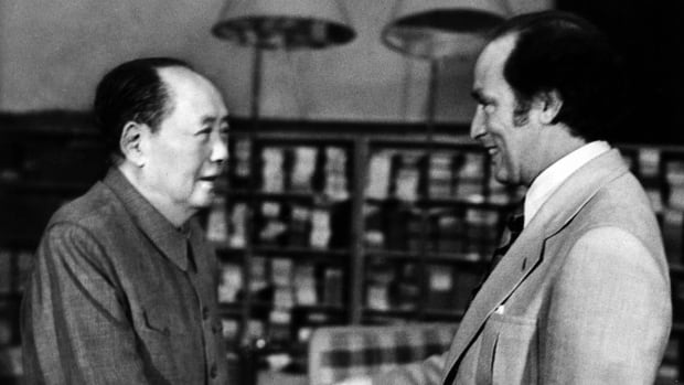 Canada's then prime minister Pierre E. Trudeau, right, shakes hands with Mao Tse-tung, party chief of the People's Republic of China on Oct.13, 1973. The two met at Chungnanhai while Trudeau was on an official visit to China.