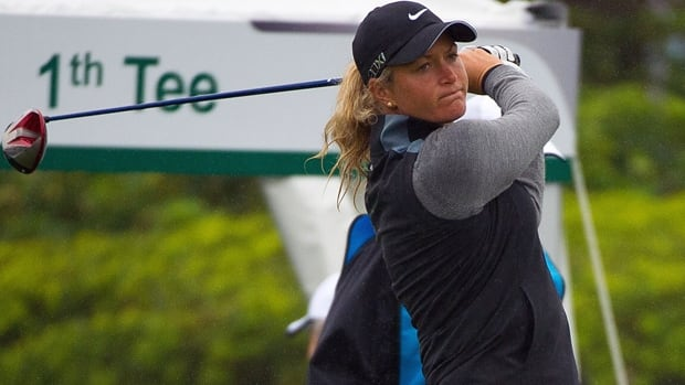 Suzann Pettersen tees off at the Sunrise Golf & Country Club in Yangmei, Taiwan, on Thursday.