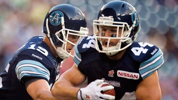 Argonauts running back Chad Kackert (44) returns to the lineup against the Blue Bombers at Rogers Centre on Thursday night.