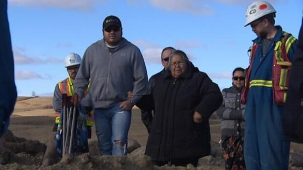 On Wednesday, First Nations elders visited the site of recently discovered ancient bones near Bethune, Sask.