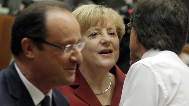German Chancellor Angela Merkel, along with French President Francois Hollande, left, are some of the EU leaders who have spoken out against alleged U.S. spying.