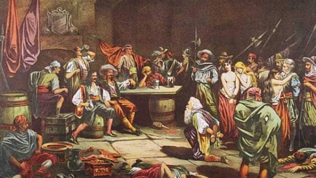 A captured Spaniard bows before Welsh privateer Sir Henry Morgan as Morgan and his men sack the city of Panama in the 1670s.